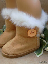 "TAN Fur-Trimmed EWE Button DOLL BOOTS SHOES fits 18"" AMERICAN GIRL Doll Clothes"