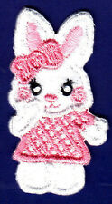ANIMALS/BUNNY w/PINK HAIR BOW & DRESS-Iron On Embroidered Applique/ Cute Critter