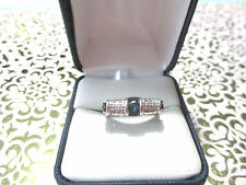 VICTORIA WIECK SAPPHIRE BLUE BAND RING SIZE 7 IN STERLING SILVER