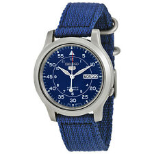 Seiko 5 Men's SNK807 Automatic Stainless Steel Watch with Blue Canvas Band - New