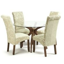Islington Glass Dining Table With 4 Kingston Chairs in Floral Cream