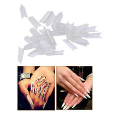 500Pcs Nail Art Ferrari Style Triangle French Flase Tips Clear Unique Gel