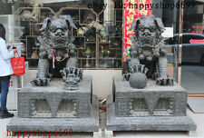 "72"" China FengShui Large Pure Bronze Guardian Foo Fu Dog Door Lion Statue Pair"