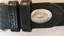 Northern Reflections Womens Black Leather Silver Buckle Loon Bird Belt S EUC