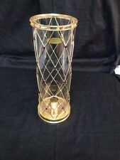 Vintage Teleflora Christmas Gold & Rhinestone Hurricane Lamp for Candle 9.5x3.5""