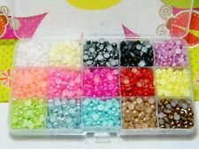 3000 6mm Half Round Flatback Faux Pearls 15 Different Colors Storage Box Case