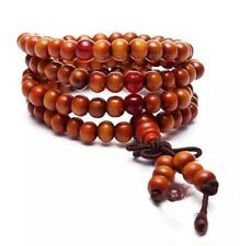 New Tibetan Sandalwood Buddhist Prayer Beads Bracelet 108 Piece Orange US Seller