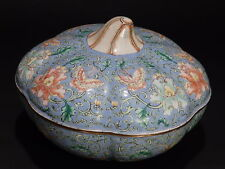 Vintage Chinese Cloisonne Hand Painted Enamel on Brass Melon/Pumpkin Trinket Box