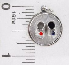 Charm M & M Sterling Silver BABY SHOES blue and red stones Traditional disc