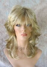 Medium Wig Golden Blonde Highlights Medium Wavy Multi Layers Choppy Bangs Volume