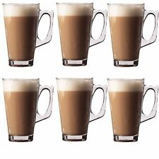 6 LATTE COFFEE CAPPUCCINO HOT DRINKS GLASSES TEA CUPS MUGS GLASS COSTA 240 ML