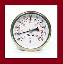"""THERMOMETER BII DIAL 1/2"""" STAINLESS STEEL FOR BREW KETTLE OR MOONSHINERS STILL"""