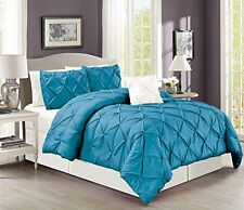 "4 Pieces Solid Turquoise Blue Pinch Pleat Duvet Cover Set KING Size 104""X92"""