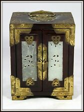 """WONDERFUL """"Hand Crafted Oriental Jewelry Box with Four Carved Jade Inserts"""""""