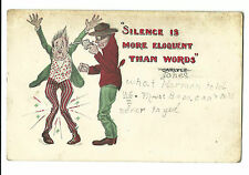 Old Comic Postcard Armed Robbery Gun Silence Is More Eloquent Than Words Carlyle