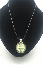 Vintage Blessed Verse Cabochon Glass Tibet Silver Pendant Leather Necklace New#2