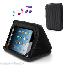 Custodia Nera Casse Audio Stereo Speaker per iPad mini / Tablet 8 pollici
