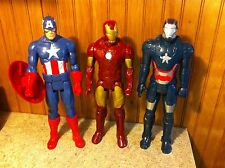 "Lot of 3 Marvel 12"" Figures 2013 Captain America Iron Man Blue Iron Man"