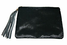 Black Smooth Faux Fur Purse, Crossbody Bag with Gold Color Shoulder Chain