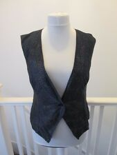 Cobweb print spotty vintage ladies waistcoat 12 14 black tuxedo sleeveless top