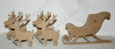 Free standing SANTA SLEIGH & REINDEER wooden Christmas craft shape MDF 18mm
