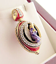 SUPERB RUSSIAN HANDMADE PENDANT ENAMLED SOLID STERLING SILVER 925 WITH ANGEL