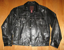 "GAP ""SPECIAL DENIM"" STYLE ""WORLD STANDARD"" MENS BLACK LEATHER JACKET SIZE S NWOT"