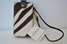 NEW Coach Zebra Fur Brown Off White Ipod Nano Case Holder Wristlet Ocelot Wallet