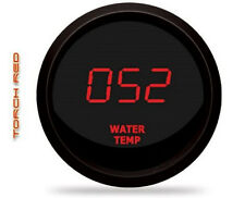 LED Digital WATER TEMPERATURE GAUGE W/ Sender RED LEDs BLACK Bezel Dash Auto USA