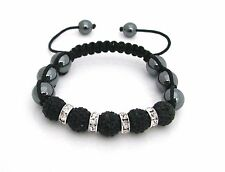 Shamballa friendship bracelet genuine Hematite beads & Jet Black Crystals