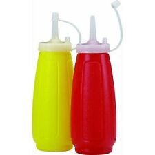 Ketchup Mustard Dispenser Squeeze Bottle Set Condiment with Cap Cover Red Yellow