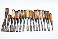 Japanese old craftsman nomi chisels include signed chisel lot of 17 (mn54)