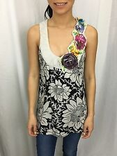 DELETTA Anthropologie Cream Black Floral Asymmetrical Tank Top Size Small XS S