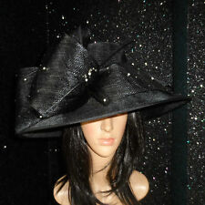 LADIES BLACK WEDDING ASCOT HAT FORMAL OCCASION MOTHER OF THE BRIDE DIAMONTE