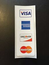 "Visa MasterCard Discover AMEX Register Stickers 1"" X 4"" Credit Card Processing"
