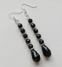 Long Jet Black Facet Cut Glass Beaded Drop/Dangle PIERCED Earrings Jellybean