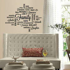 FAMILY QUOTES Wall Decals Black Letter Room Decor Stickers LOVING WORDS HOME NEW