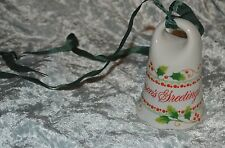 The Toscany Collection  Seasons Greeting Porcelain Christmas Bell
