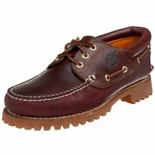 Timberland Mens 50009 Authentics 3-Eye Classic Lug Boat Shoe, Burgundy/Brown,9 M