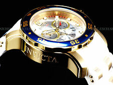 Invicta Mens 48mm Scuba Pro Diver Swiss Chrono 18K Gold IP White/Champagne Watch