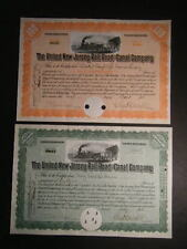 Pair United New Jersey Railroad & Canal Company 1931 Stock Certificates, Pretty.