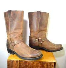Boulet Distressed Brown Leather Harness Motorcycle Boots, Men's Size 12 E