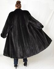 US960 Dark Mink fur coat jacket Full Length Women Pelliccia Nerzmantel ca. 2XL