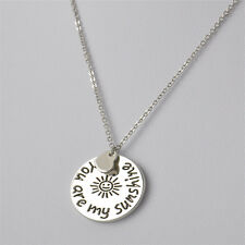 Valentine Love Jewelry Gift You Are My Sunshine Silver Charm Necklace Pendant