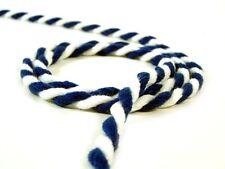 5m extra breite Kordel 8 mm blau weiss Schnur Dekoband Seil Stoffband NEU