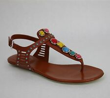 New Gucci Embroidered Leather Flat Sandal w/Gems IT 34.5/US 4.5 374740 6336