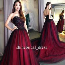 Gothic A Line Wedding Dress Red/Black Lace Prom Perform Formal Quinceanera Gowns