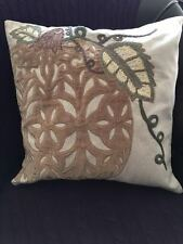 NEW POTTERY BARN Velvet Pumpkin Applique Neutral Pillow Cover Fall Thanksgiving