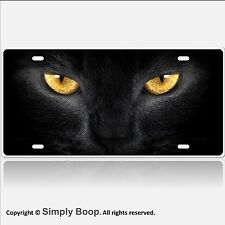 Amber Eyed Black Cat Face Aluminum License Plate Glossy Baked on Finish Meow!
