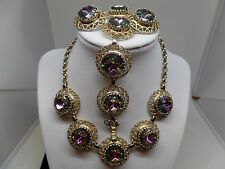 SCHIAPARELLI Signed Watermelon Headlight Crystal Necklace, Bracelet & Earrings!
